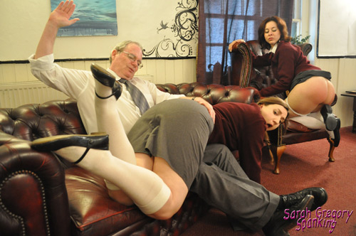 Pandora Blake gets her big bottom spanked in the Headmaster's Study