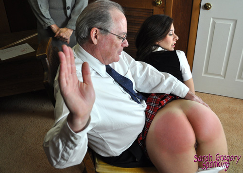 Sarah Gregory gets spanked over the principal's knee
