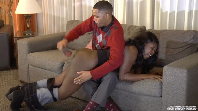 Ebony Sha Luciana gets a hard hairbrush punishment from her husband