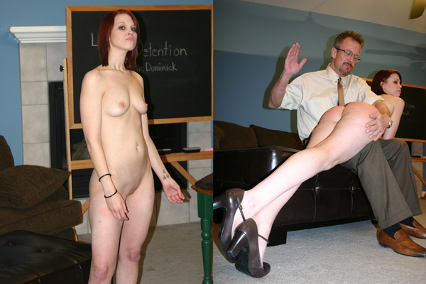 Kailee gets a naked spanking from Tom Byron