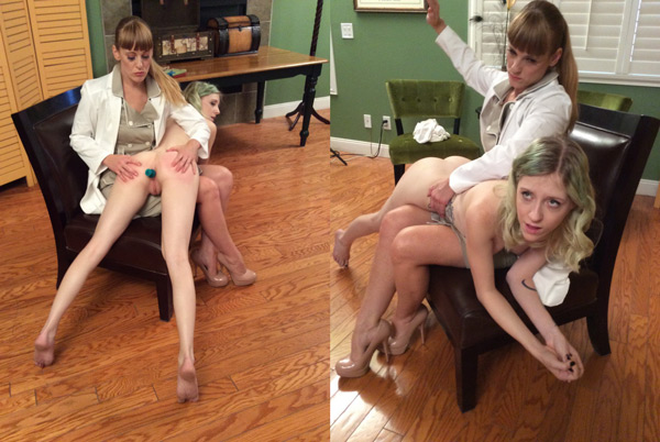 Nikki Rouge spanks and probes Violet October's ass