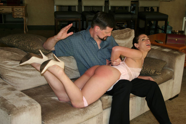 When Ten hasn't learned her lesson she is given a second OTK spanking
