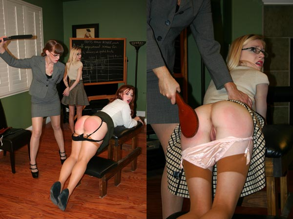 Summer Hart and Violet October bend over a spanking bench separately for Miss Nikki Rouge's strap and paddle