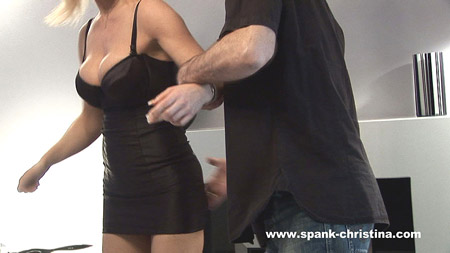 Sam is assisted into position - lovely cleavage pic
