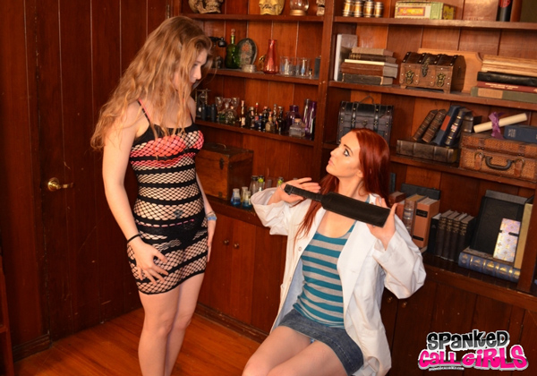 Apricot Cums gets trained by Veronica Ricci with a large leather paddle
