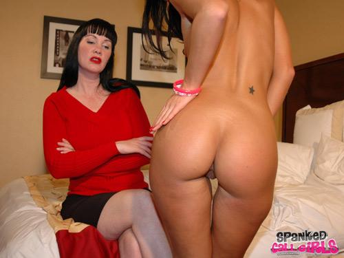 Ashli Orion rubs her hot bottom after a spanking