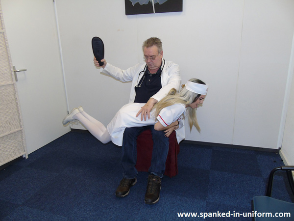 Naughty Nurse Punished OTK with Dr Johnson's slipper