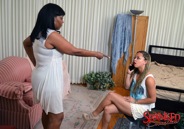 Ashley Luvbug gets told off while on her cellphone in the bedroom