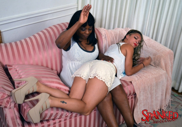 Ashley Luvbug gets spanked by mom, Lana Miller, at Spanked Sweeties