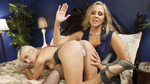 Angel Investor Julia Ann spanks sexy entrepreneur Eliza Jane at Whipped Ass