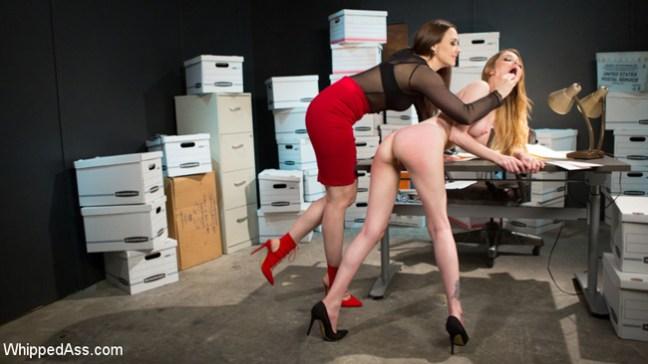 Big-boobed Nadya Nabakova gets a nude spanking and flogging over her desk