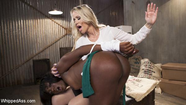 Simone Sonay spanks Ana Foxxx at Whipped Ass