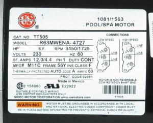 2 speed 230v 56FR 120A 1110014 Spa Pump Motor 1110014 Spa