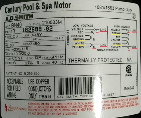 Baldor Motor Heater Wiring Diagram Waterway Spa Pump Motor 2 Speed Century Bn40 7 182688 02