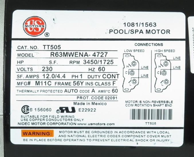 Ao Smith Motor Wiring Schematic Mtraos 187563 Tt505 Spa Pump Motor 56fr 2 Spd 12a 230v Us