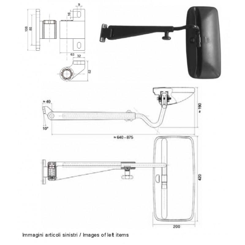 Tractor complete mirror for RENAULT