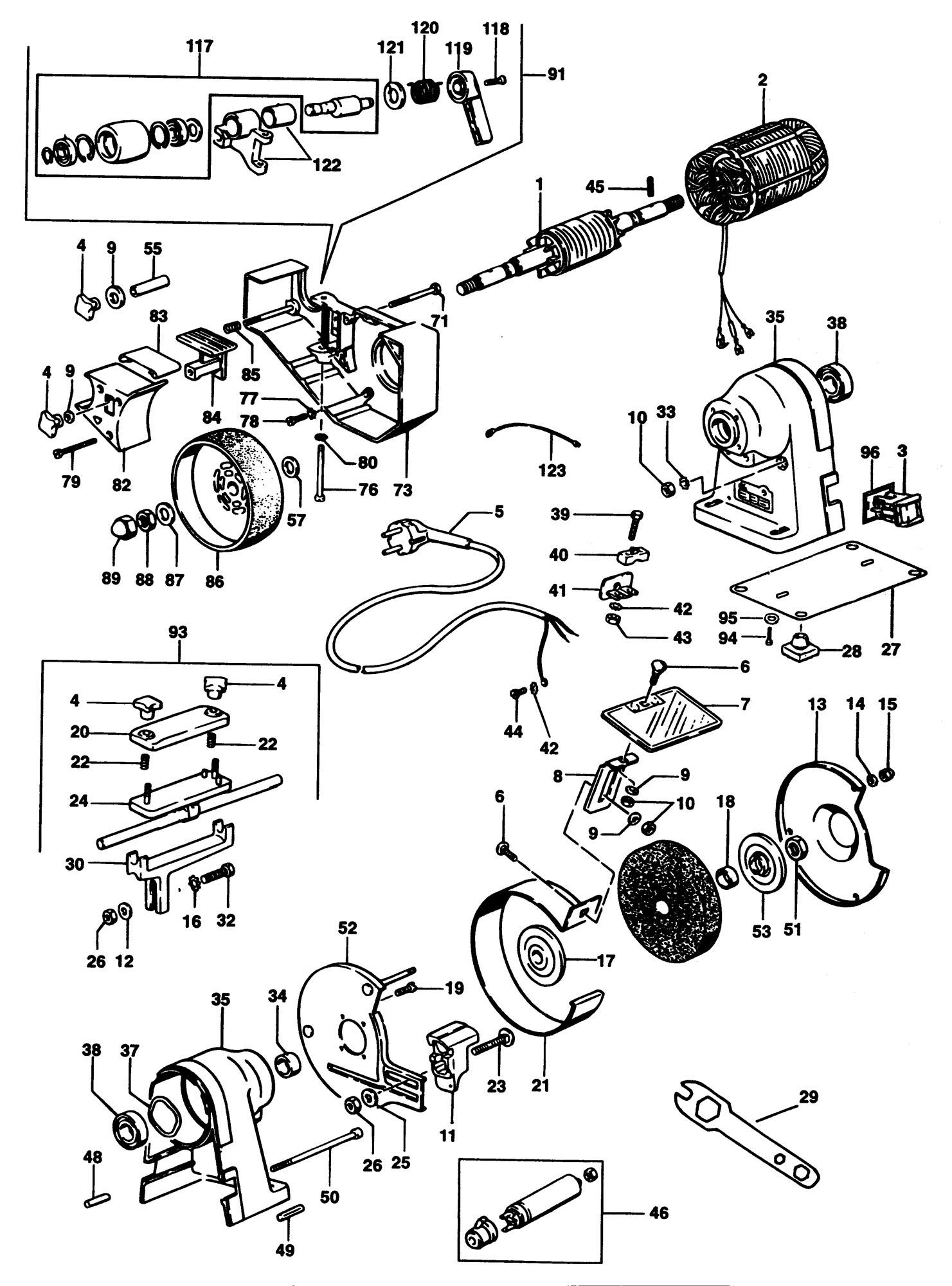 Elu Mwa149 Bench Grinder (type 3) SPARE_MWA149/TYPE_3 from