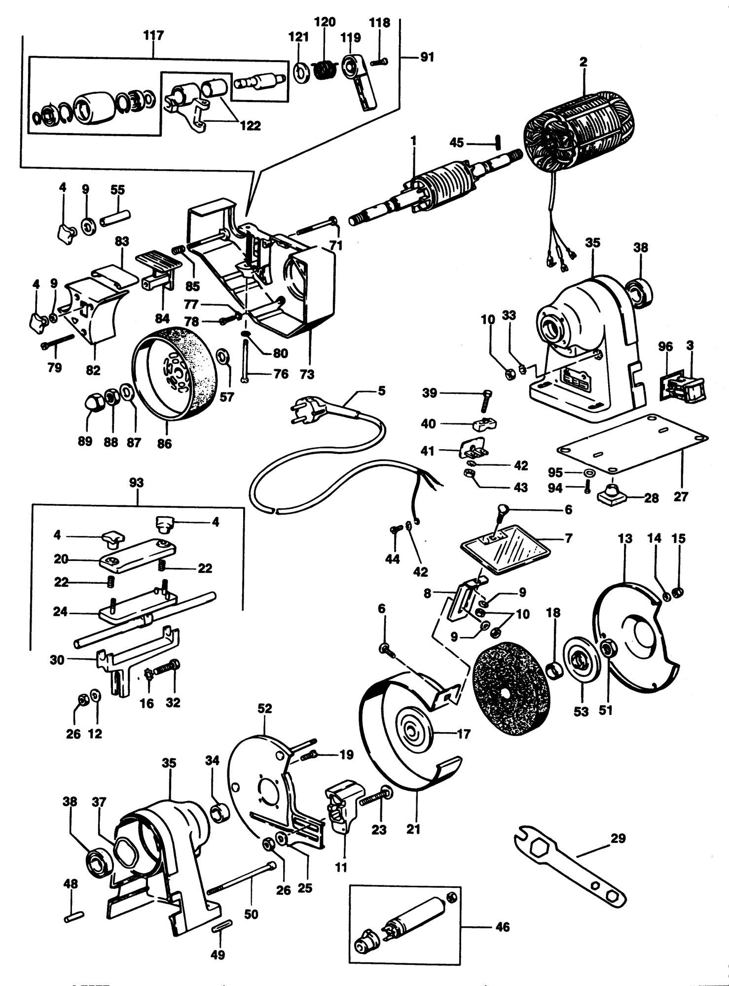 Elu Mwa149 Bench Grinder (type 2) SPARE_MWA149/TYPE_2 from