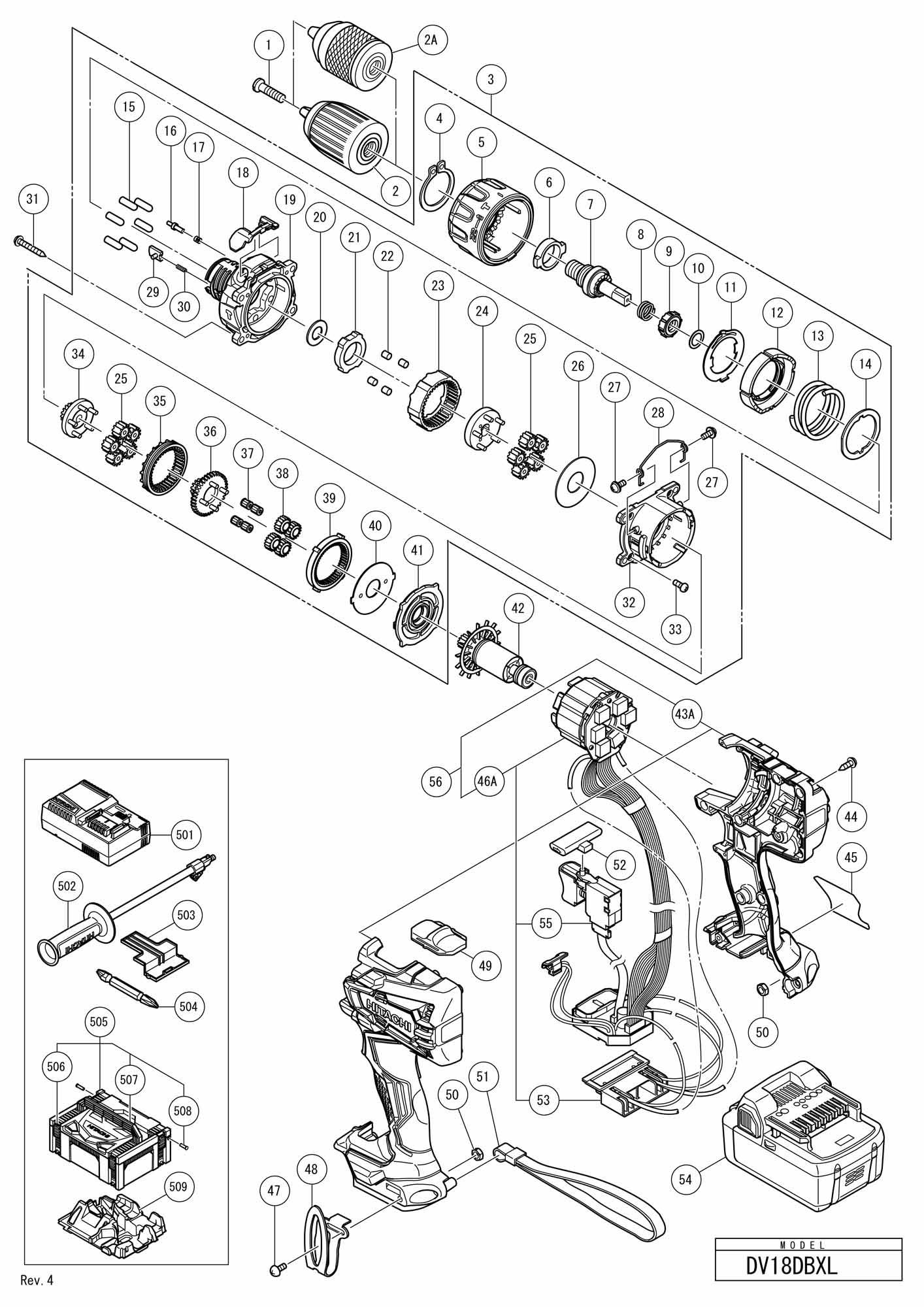 Hitachi Cordless Impact Driver Drill Dv 18dbxl SPARE