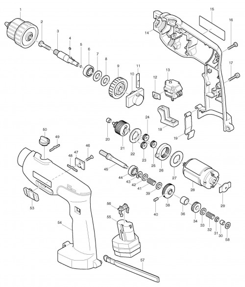 Makita 8411d Cordless Percussion Drill 12v Spare Parts