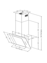 ART28203 60cm Black Angled Glass Cooker Hood