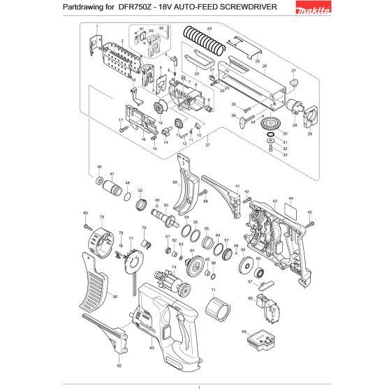 Buy A Makita DFR750 GUIDE BOX COMP 6843/6844/BFR55 140493