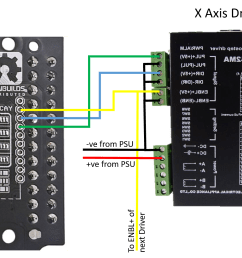 next connecting the x axis and enable signals to the first dq542ma driver note dq542ma mirrored to avoid ratsnest of wiring diagram  [ 1893 x 1082 Pixel ]