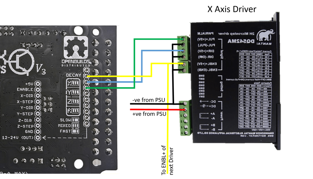 medium resolution of next connecting the x axis and enable signals to the first dq542ma driver note dq542ma mirrored to avoid ratsnest of wiring diagram