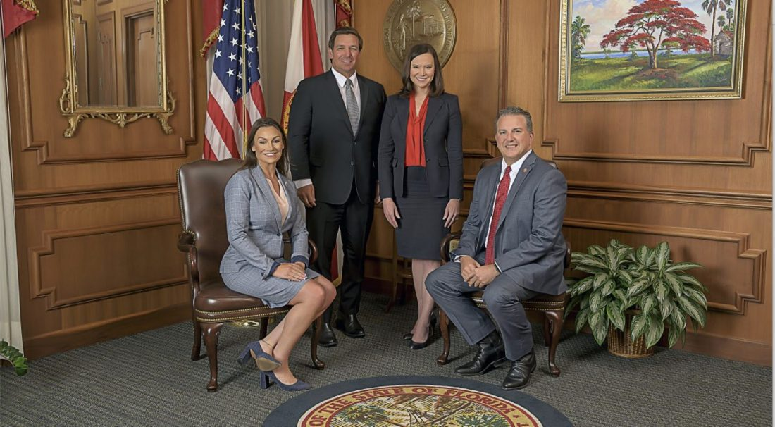 From left: Commissioner of Agriculture Nikki Fried, Gov. Ron DeSantis, Attorney General Ashley Moody, Chief Financial Officer Jimmy Patronis