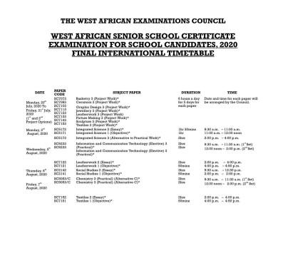 WAEC Timetable 1