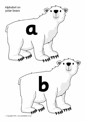 Alphabet and sounds on Polar animals, posters, flash cards