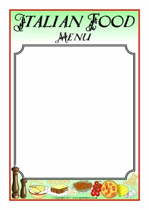 Menu Writing Frames and Printable Page Borders KS1 KS2