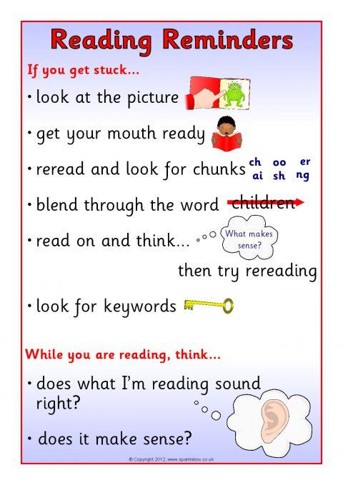 Reading Reminders Desktop Sheet SB8711  SparkleBox