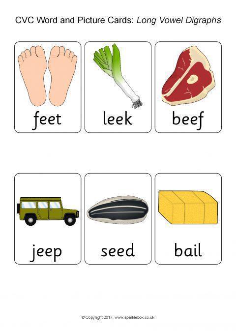 Cvc Word Cards Long Vowel Digraphs Sb505