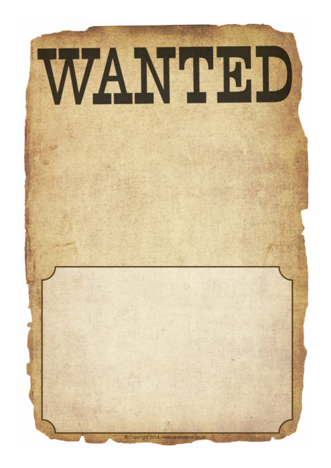 Blank Wanted Poster Writing Frames SB10529 SparkleBox