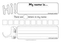 Dinosaur-Themed Name-Writing Worksheets (SB12394) - SparkleBox