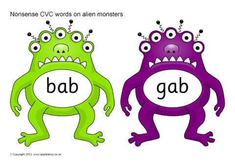 Nonsense CVC Words On Alien Monsters SB7786 SparkleBox