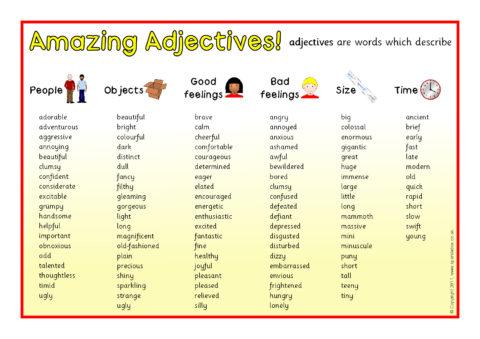Amazing Adjectives Word Mat SB6203  SparkleBox