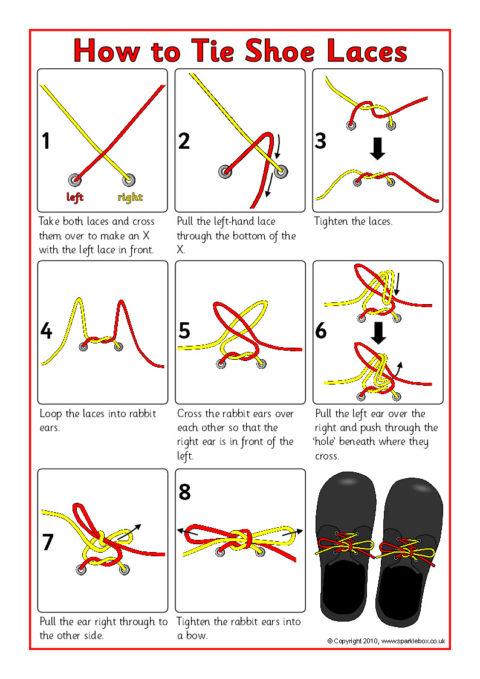 How to Tie Shoe Laces Instruction Sheet (SB3623) - SparkleBox