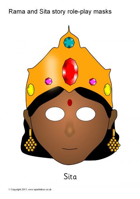 Rama and Sita Story RolePlay Masks SB1787  SparkleBox