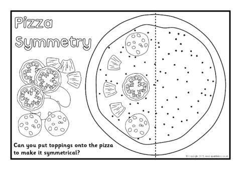 Pizza Toppings Symmetry Activity Black And White