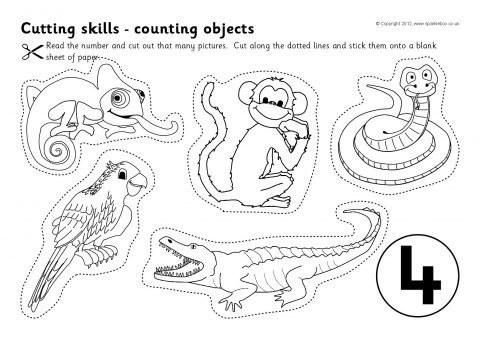 Cutting Skills Counting Worksheets