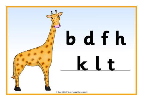 Giraffe Tortoise and Monkey Letter Posters
