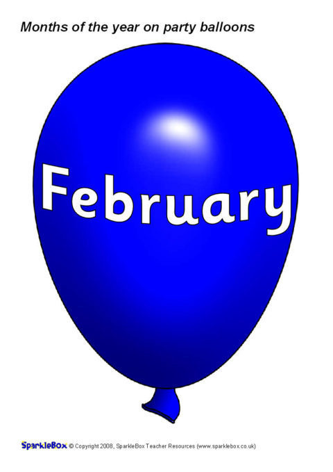 Months Of The Year On Party Balloons SB1462 SparkleBox