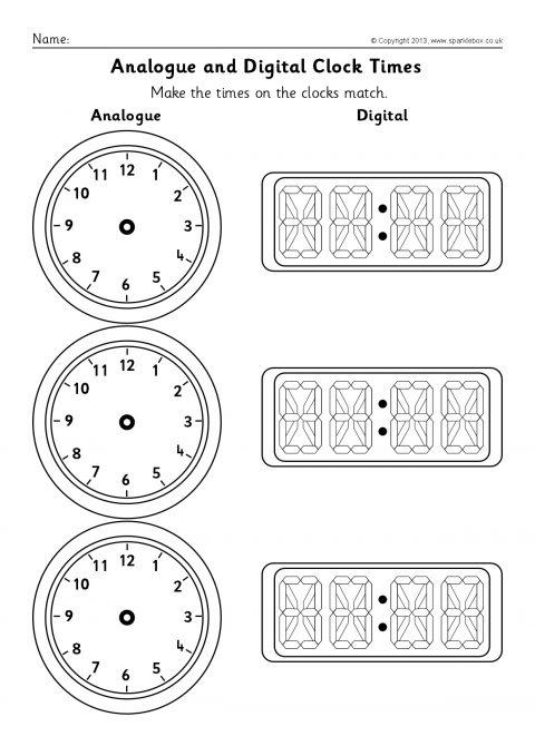 Blank Analogue and Digital Clock Times Worksheets (SB9593