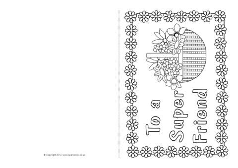 Friendship Card Colouring Templates SB7793  SparkleBox