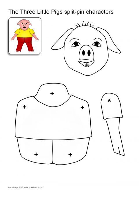 Three Little Pigs and Big Bad Wolf Split-Pin Characters