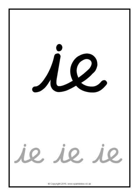 Phase 5 A4 Phoneme Tracing Sheets (Cursive)