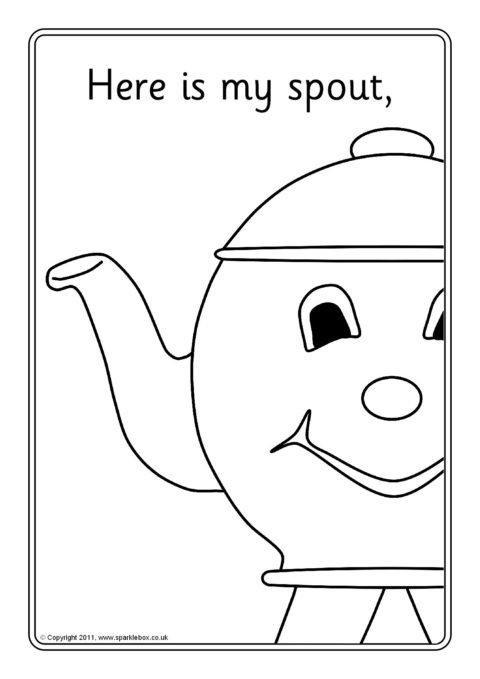 I'm a Little Teapot Colouring Sheets