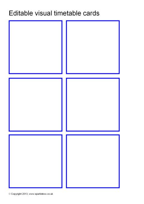 Editable Visual Timetable Card Templates SB9169 SparkleBox